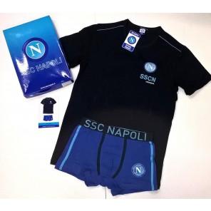 Completo intimo maglia girocollo + boxer ragazzo uomo adulto SSC NAPOLI calcio prodotto ufficiale