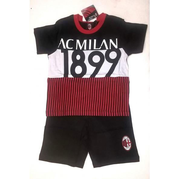 1dc0f5a2055740 AC Milan Completo T-Shirt Manica Corta + Bermuda Bambino Bimbo Prodotto  Ufficiale Milan